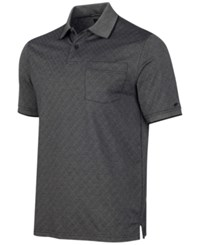 Greg Norman For Tasso Elba Men's Diamond Jacquard Golf Polo Deep Black