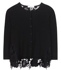 Dorothee Schumacher Walk The Line Wool And Lace Cardigan Black