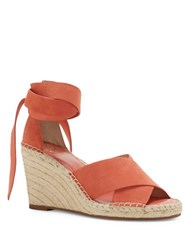 Vince Camuto Leddy Leather Espadrille Wedge Sandals Orange