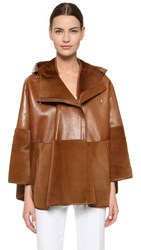 Prabal Gurung Fur Leather Cape Tan