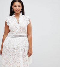Alice And You Plus Lace Skater Dress White