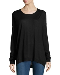 Minnie Rose Long Sleeve Crewneck Sweater Black