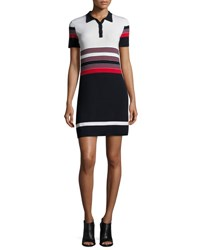 Rag And Bone Krista Short Sleeve Striped Polo Dress Blue Red Multi Pattern