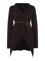 Sarah Pacini V Neck Long Cardigan Black