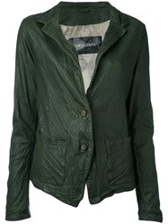 Giorgio Brato Two Button Jacket Women Cotton Leather Nylon 46 Green