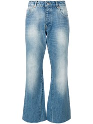 Anine Bing Stella Faded Wash Cropped Jeans Cotton Blue