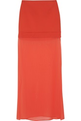 Dkny Ponte And Stretch Silk Chiffon Maxi Skirt Red
