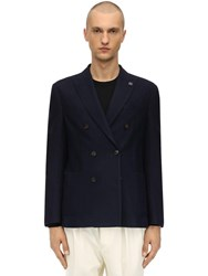 Lardini Double Breasted Wool Blend Knit Jacket Navy
