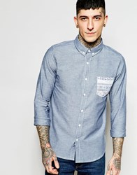 Another Influence Denim Contrast Pocket Shirt Blue