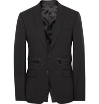 Givenchy Black Slim Fit Zip Detailed Wool And Mohair Blend Blazer Black