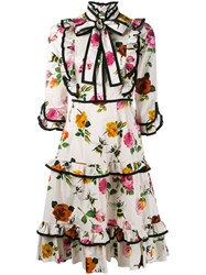 Gucci Floral Pussy Bow Dress White