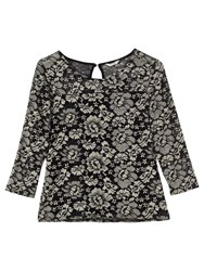 Precis Petite Jocelyn Jersey Lace Top Multi Black