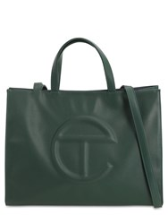 Telfar Medium Embossed Faux Leather Tote Bag Dark Olive