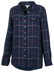 Fat Face Boyfriend Doubles Check Shirt Navy