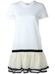 Red Valentino Ruffled Layered Skirt Dress White