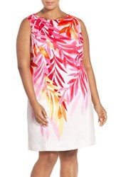 Plus Size Women's Ellen Tracy Placed Print Sleeveless Sheath Dress