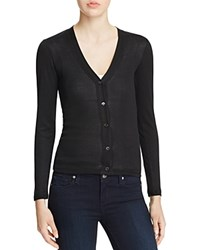 Majestic Filatures V Neck Cotton Cardigan Noir