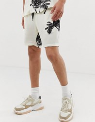 Mennace Co Ord Shorts In Palm Print White