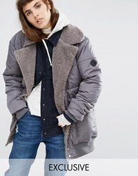 Puffa Oversized Longline Bomber Jacket With Faux Shearling Shawl Collar Grey