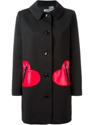 Love Moschino Heart Patch Single Breasted Coat Black