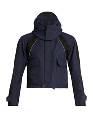 Balenciaga Cropped Hooded Shell Jacket Navy