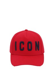 Dsquared Icon Cotton Canvas Baseball Hat Red