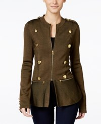 Inc International Concepts Petite Peplum Military Style Jacket Only At Macy's Olive Drab