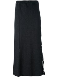Hache Paisley Panel Midi Skirt Black