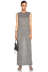 T By Alexander Wang Heather Linen Jersey Long Muscle Dress In Gray
