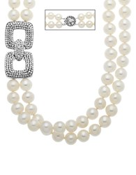 Lord And Taylor Sterling Silver Pearl Crystal Necklace Pearl Silver