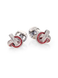 Saks Fifth Avenue Textured Knot Cuff Links Red Black