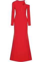 Antonio Berardi Cutout Button Detailed Cady Gown Red