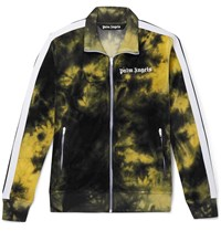 Palm Angels Striped Tie Dyed Cotton Blend Velour Track Jacket Black
