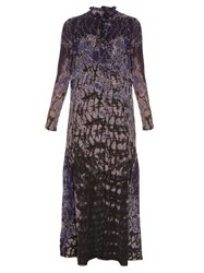 Raquel Allegra Silk Chiffon Tie Dye Maxi Dress Navy Print
