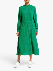 John Lewis Collection Weekend By High Neck Heart Print Midi Dress Green