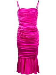 Dolce And Gabbana Ruched Midi Dress Pink And Purple