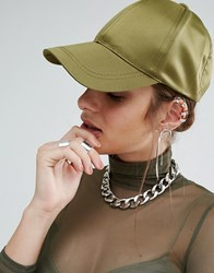 Missguided Satin Baseball Cap Khaki Green