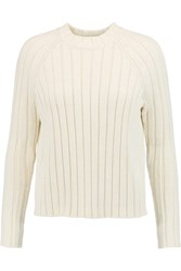 Tory Burch Ribbed Cotton Sweater Cream