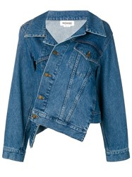 Monse Asymmetric Denim Jacket Blue