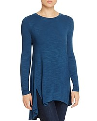 Cupio Slit Front High Low Tunic Steely Blue