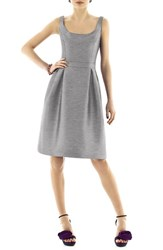 Women's Alfred Sung Scoop Neck Dupioni Fit And Flare Dress
