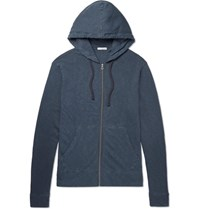 James Perse Loopback Supima Cotton Jersey Zip Up Hoodie Storm Blue