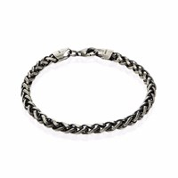 Think Positive Men's Sterling Silver Gunmetal Grey Bracelet