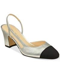 Ivanka Trump Liah Slingback Block Heel Pumps Women's Shoes Silver
