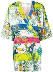 Gaelle Bonheur Tropical Print Fitted Dress White