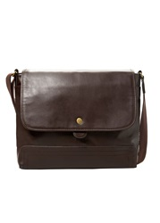 Mango Bob E C Pebbled Cross Body Messenger Bag Dark Brown