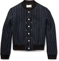 Maison Martin Margiela Pinstriped Stretch Wool Blend Twill Bomber Jacket Blue