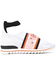 No Ka' Oi Embellished Ankle Strap Sneakers Women Leather Nylon Pvc Rubber 35 White