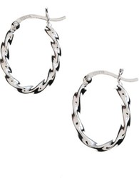 Lord And Taylor Sterling Silver Twisted Hoop Earrings
