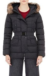 Moncler Women's Fur Trimmed Down Quilted Clio Coat Colorless